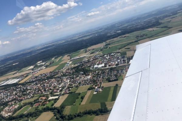 Rundflug von Jesenwang, über Augsburg und Königsbrunn